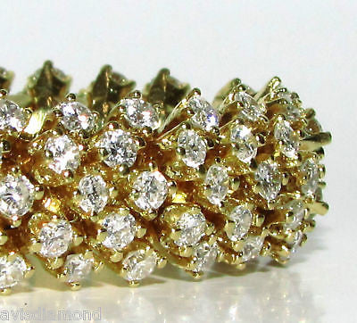18KT 10.00CT DIAMONDS DOME CLUSTER LINE BRACELET