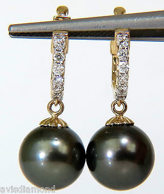 14KT 10MM NATURAL AAA SOUTH SEA GRAY PEARL HOOP DIAMOND EARRINGS DANGLE