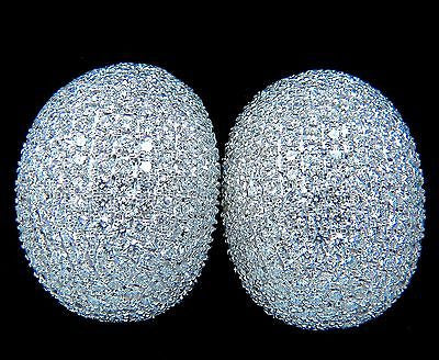 10.02CT 18KT RAISED PUFF DOMED DIAMOND CLUSTER EARRINGS F/VS BEAD SET