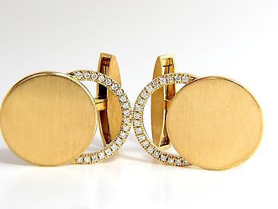18KT GERMANY .50CT DIAMONDS CUFFLINKS BRUSHED CRESCENT MODERN CIRCLE DECO