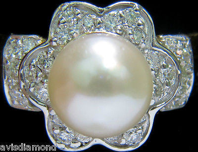 7.5mm JAPANESE CULTURED PEARL .75CT DIAMOND RING 14kt DAISY DECO