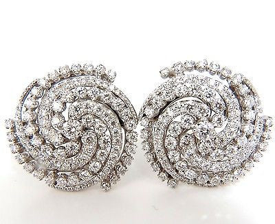 4.25CT SPIRAL KALEIDOSCOPE CIRCULAR ROTARY TWIST 18KT DIAMONDS EARRINGS