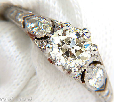 PLATINUM 1.90CT EUROPEAN OLD CUT DIAMOND RING SCALING ETCHING DETAIL