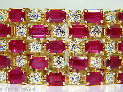 18KT GIA 55.25 NATURAL TOP GEM RUBY DIAMOND BRACELET HINGED BLOOD