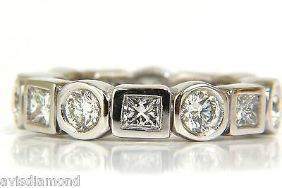 2.80CT ROUNDS & PRINCESS DIAMONDS ETERNITY BAND PLATINUM FLUSH DURABLE