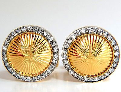 18KT .70ct. ROUND DIAMONDS CUFFLINKS 3-D RAISED DOMED GRILL SUNBURST DECO
