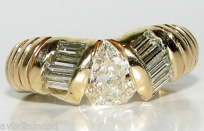 1.20CT PEAR SHAPE DIAMOND BAND RING 14KT DURABLE