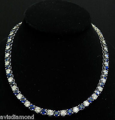 18KT 33.68CT NATURAL TOP GEM SAPPHIRE DIAMOND NECKLACE BEST ETERNITY