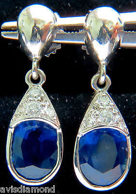 4.36CT NATURAL DIAMOND SAPPHIRE DANGLE EARRINGS 14KT
