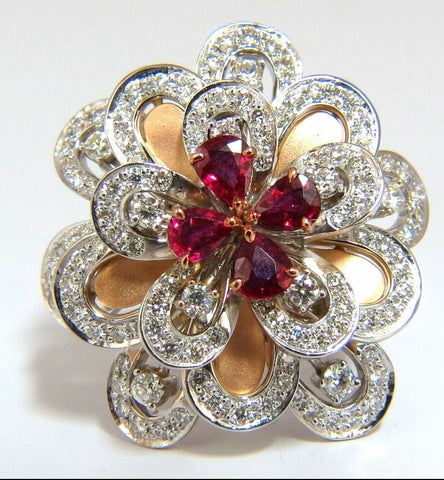 2.36Ct Natural Ruby Diamonds 4 Tier 3D Cocktail Petal Diamond Ring 18kt