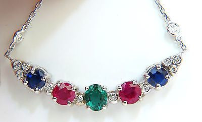 3.60CT NATURAL RUBY EMERALD SAPPHIRE DIAMONDS NECKLACE F/VS ARCH & BY YARD
