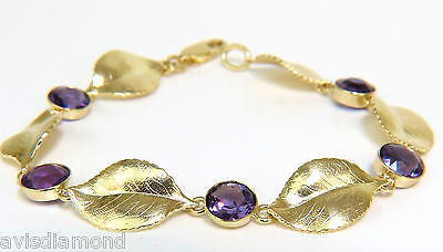 18KT 8.00CT NATURAL AMETHYST 3D LEAF HINGED BRACELET