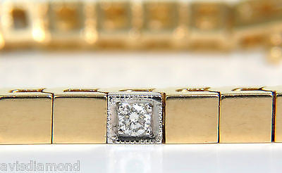 .40CT DIAMOND GOLD SHINE PAVE BOX BRACELET 14KT UNIQUE 7 INCH