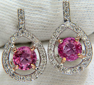 18KT 3.00CT NATURAL TOP GEM PINK SAPPHIRE DIAMOND EARRING CLUSTER