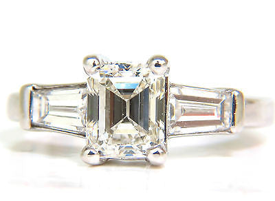 GIA 1.56CT BRILLIANT EMERALD CUT DIAMOND RING J/VVS2 SOLITAIRE W ACCENTS