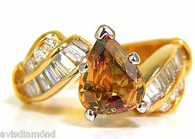 3.20CT NATURAL FANCY YELLOW ORANGE SAPPHIRE DIAMOND RING COCKTAIL 14KT
