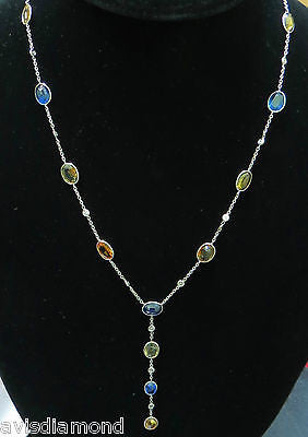 20.75CT NATURAL GEM COLOR SAPPHIRES DIAMOND BY YARD NECKLACE 14KT