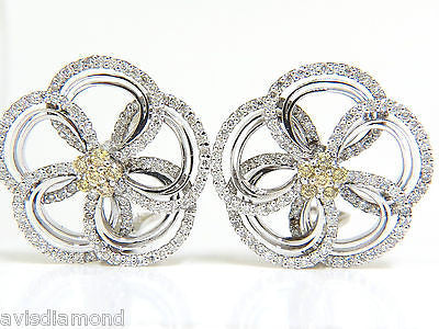 2.40CT NATURAL YELLOW DIAMONDS 3D FLOWER CLUSTER  EARRINGS 14KT