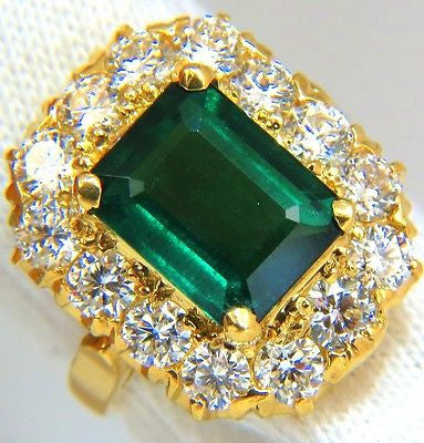 GIA 5.93CT NATURAL EMERALD DIAMONDS CLUSTER RING 18KT F/VS VIVID GREENS