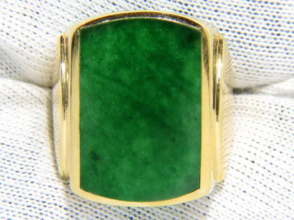 NATURAL 5.00CT JADE MENS RING 14KT YELLOW GOLD