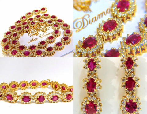 GIA 67.20CT NO HEAT RUBY DIAMOND NECKLACE BRACELET EARRINGS UNHEATED