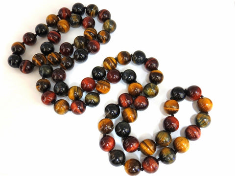 11.8mm Tiger Eye Bead Necklace 34 inch