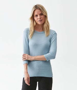 Shine 3/4 Sleeve Basic Band Crew Neck