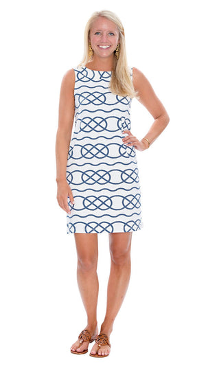 Yacht Club Shift Dress - Two Blue Geo Print