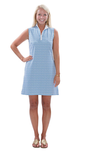 Britt Dress - Azure Blue/White