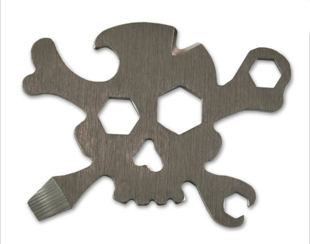 "Pirate Multi-Tool (steel skull & bones) ""7-in-1 tool"""