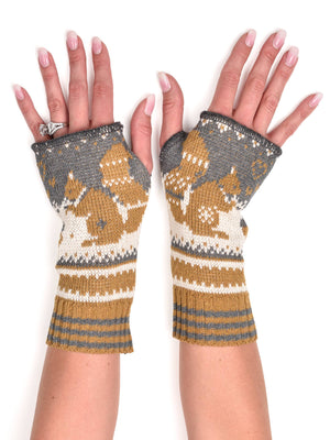 Hand Warmer Fingerless Glove-Squirrel
