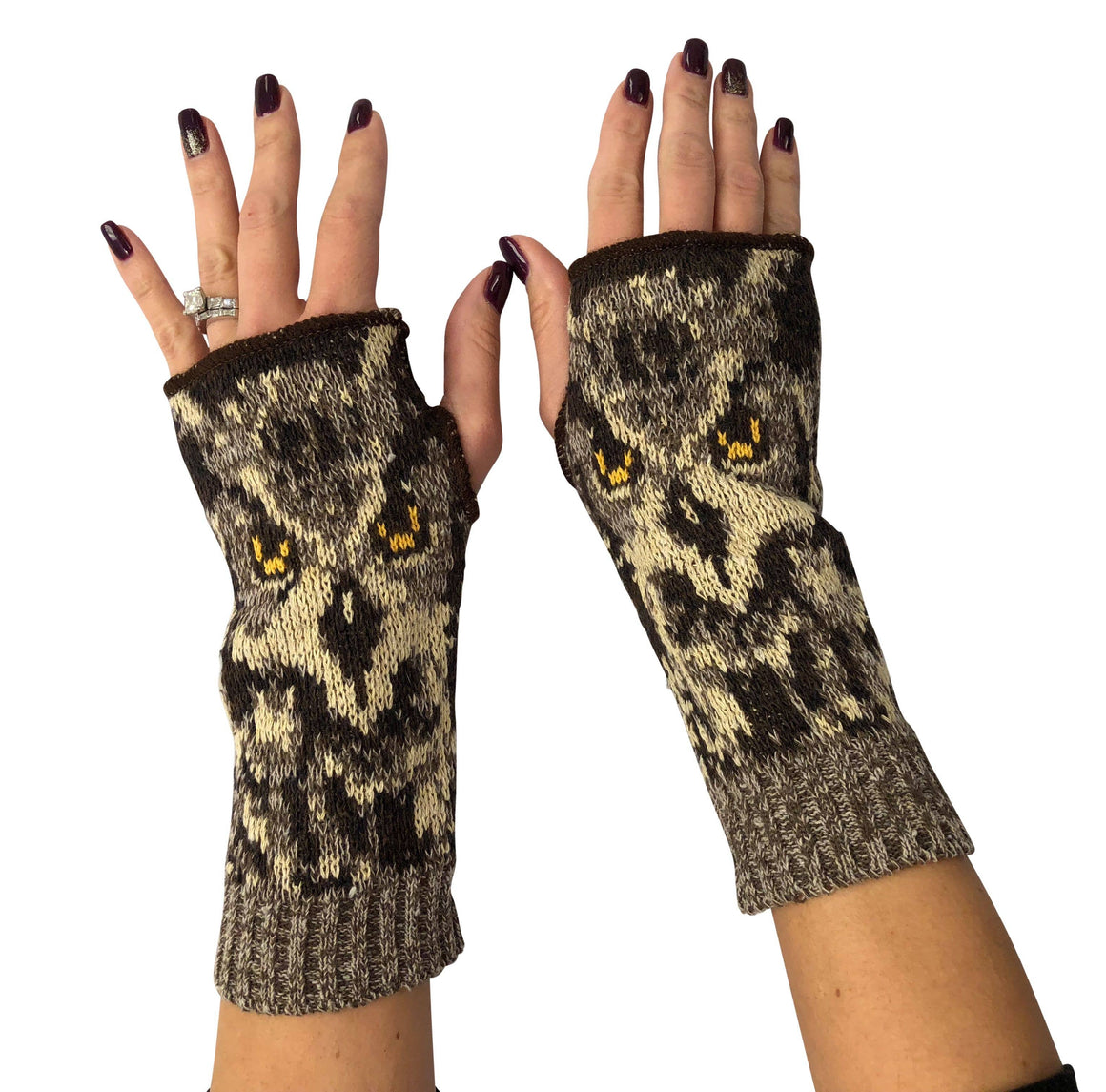 Hand Warmer Fingerless Glove - Owl