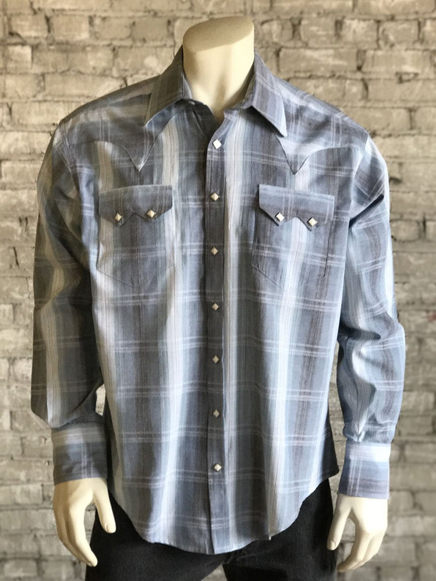 Men's Classic Ombre Stripe Sawtooth Western Shirt