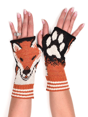 Hand Warmer Fingerless Gloves - Fox Orange
