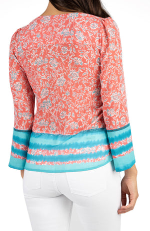Meredith V-Neck Floral Border Print Blouse