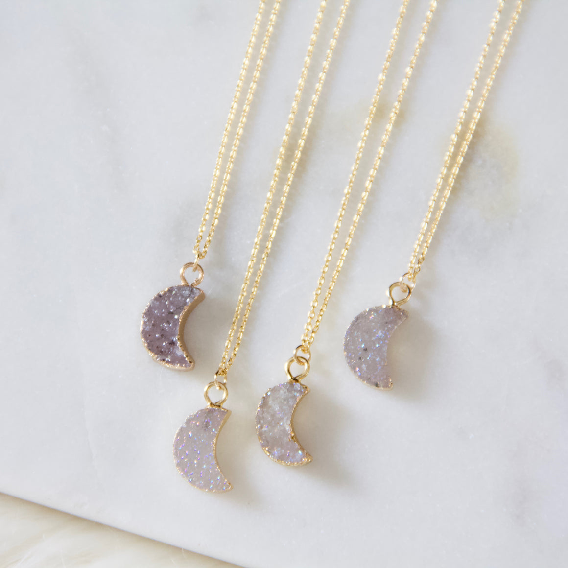 Mesa Blue - Tiny Moon Druzy Necklace