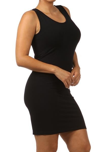 Sleeveless V-Neck/Scoop Neck Tight Tunic Cami Dress