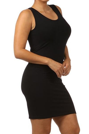 PLUS SIZE Sleeveless V-Neck/Scoop Neck Tight Tunic Cami