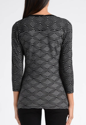 Geo Textured Stripe Cut Out Squared Neck Top