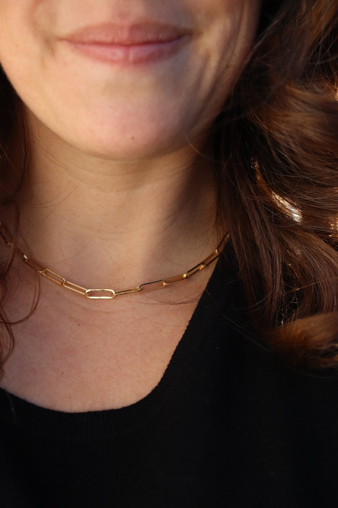 "Gold 16"" Paperclip Chain Necklace"