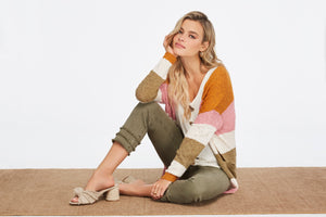 Boucle cotton long sleeve striped sweater