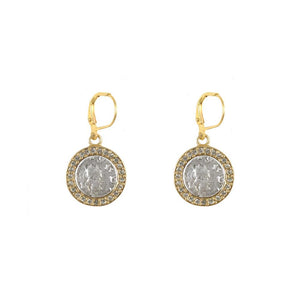 Gold Frame Hester Coin Earrings