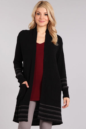 Black Cardigan with Stripes