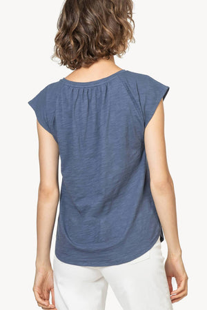 Short Sleeve Split Neck Tee