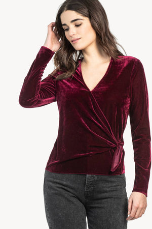 Long Sleeve Velvet Tie Top