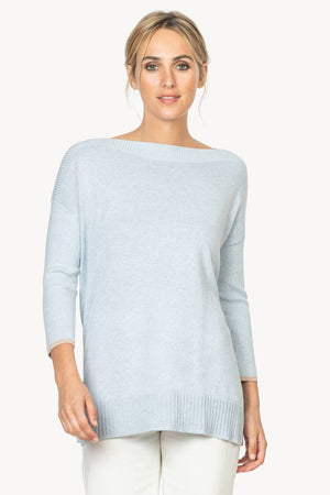 Ribbed Sleeve Slitneck Sweater