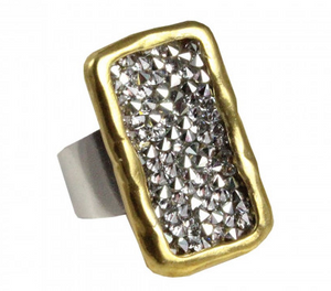 Kristal Plate Ring - Brass - Size 8