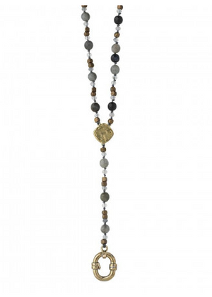 Evolution Y Necklace - Labradorite & Moonstone