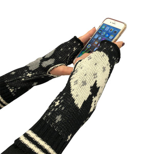 Hand Warmer Fingerless Gloves - Cat Moon