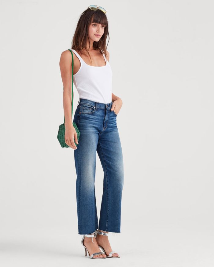 Luxe Vintage Cropped Alexa with Cut Off Hem in Flora